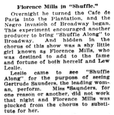 Florence Mills Shuffle Along Gertrude Saunders