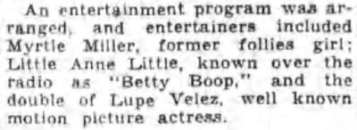 Lupe Velez 1933 Betty Boop Ann Little