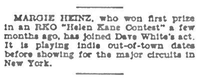 August 9th 1930 Margie Hines RKO Winner
