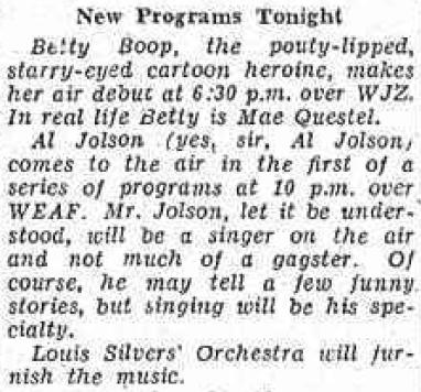 1932 Mae Questel was Betty Boop