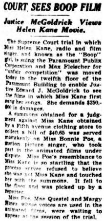 April 1934 Bonnie Poe Mistaken for Helen Kane