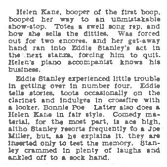 The Billboard 1932 Helen Kane and Bonnie Poe Touring Together