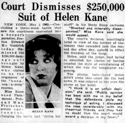 Court Dismisses Helen Kane Lawsuit 1934