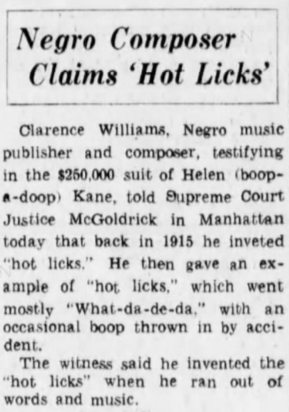 Clarence Williams Negro 1915 Boop