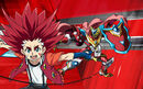 Beyblade Burst Turbo Aiger Akabane and Turbo Achilles Avatar USA Website Poster