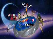 Cast of characters from the Metal Fight Beyblade Opening