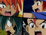 Gingka Hagane & Masamune Kadoya vs. Kyoya Tategami & Nile