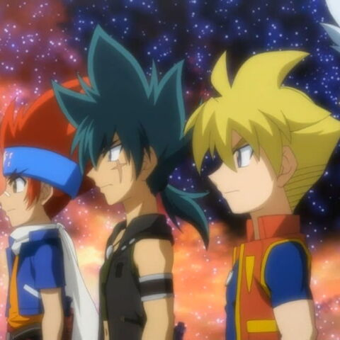 Blader der vier Jahreszeiten (ohne Kenta): Gingka, Kyoya, Chris und Ryuga
