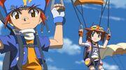Madoka y Gingka caen a la isla en paracaidas