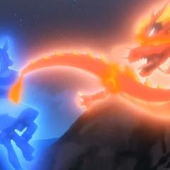 Mercury Anubis und LDrago Destroy kämpfen gegeneinander.