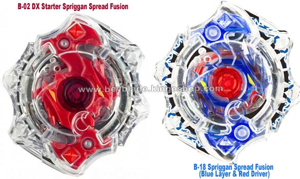 Toupie-beyblade-burst-starter-b-02-spriggan-spread-fusion-recoloriée-b-18-blue-layer-and-red-driver