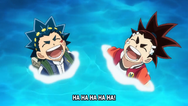 Valt and aiga laughing while swimming