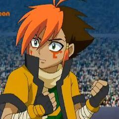 Nile niedergeschlagen da er und Kyoya den Kampf gegen Gingka und Masamuune verloren haben