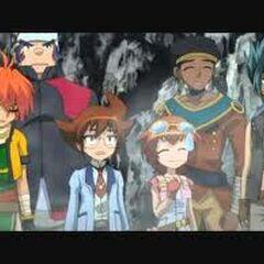 de groep kijkt toe hoe Aki en Ryuto onozel  doen