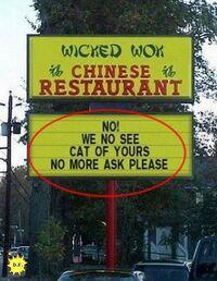 Tabliczka przy chińskiej restauracji