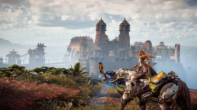 Horizon Zero Dawn Aloy riding Grazer