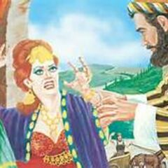 Two men are about to throw Jezebel to her death (See 2 Kings 9:32-33)