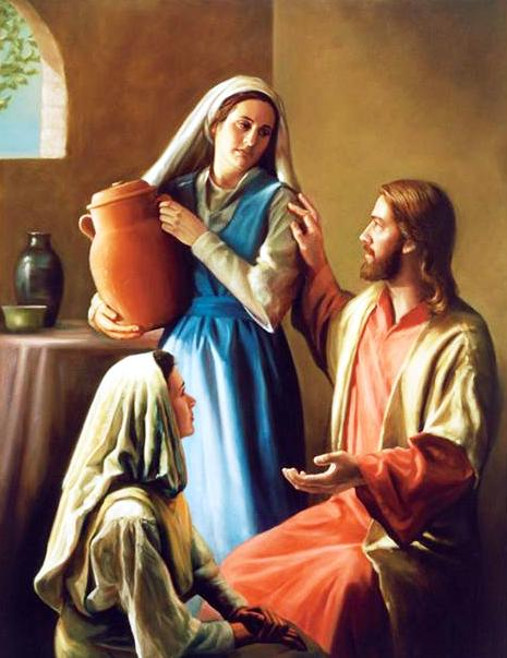 Image result for Martha, the sister of Lazarus, with Jesus, art