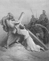 Dore 41 Mark15 Jesus Falls with the Cross
