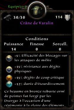 Crâne de Varalin stats