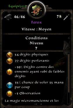 Ferox stats