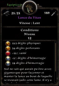 Lance du titan stats