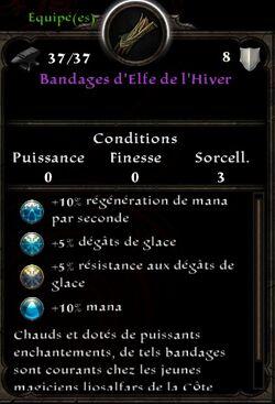 Bandages d'Elfe de l'Hiver stats (fin texte d'icebrine)