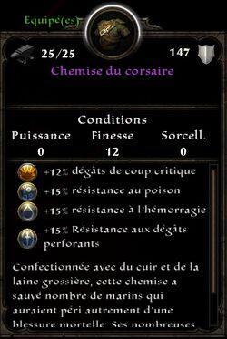 Chemise du Corsaire stats (fin texte poches sont tres pratiques pour al contrebande)