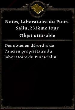 Notes, Laboratoires du Puits-Salin, 233 ème Jour