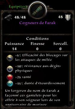 Cogneurs de Farak stats