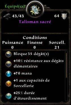 Talisman Sacré stats