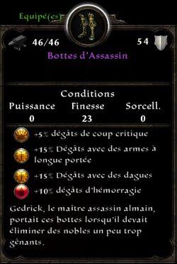Bottes d'Assassin stats