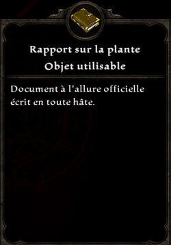 Rapport sur la plante