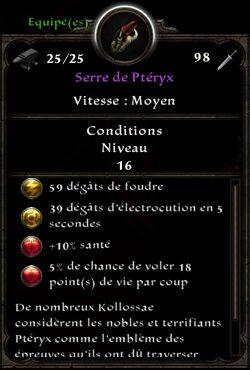 Serre de Ptéryx stats