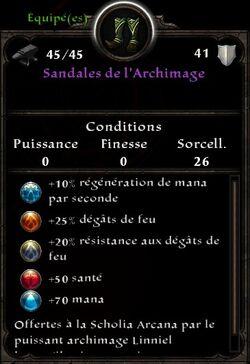 Sandales de l'Archimage stats (fin texte lorsqu'il prit sa retraite)