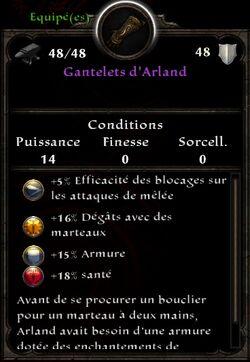 Gantelets d'Arland stats (fin texte protection les plus puissants)