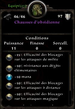 Chausses d'obsidienne stats