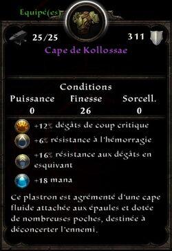 Cape de Kollossae stats Aléatoire