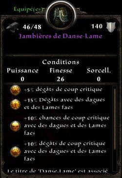 Jambières de Danse-Lame stats