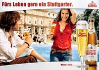 Stuttgarter Hofbräu Pilsner Werbeplakat BW