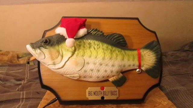 "Gemmy Big mouth Billy Bass Sings ""T'was the night before Christmas""-0"