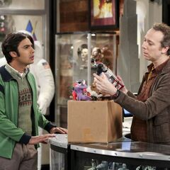 Raj selling some collectibles.