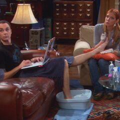 Working on Sheldon's foot.