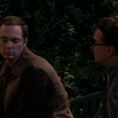 Calming Sheldon down.