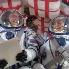 On board the Soyuz capsule.