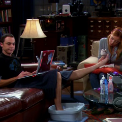 Ramona doing Sheldon's toe nails.