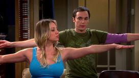 Penny and Sheldon doing Warrior 2