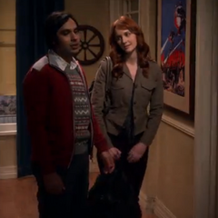 Raj trying to get Emily to look at Sheldon.