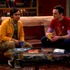 Sheldon giving Raj advice about women.