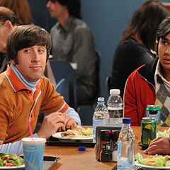 Howard and Raj in the cafeteria.